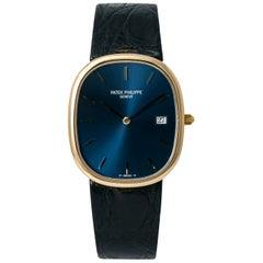 Patek Philippe Golden Ellipse 3747, Blue Dial, Certified