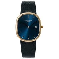 Patek Philippe Golden Ellipse 3747 Quartz Men Watch 18k YG Royal Blue Dial