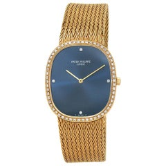 Patek Philippe Golden Ellipse 3875/1, Blue Dial, Certified