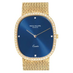 Patek Philippe Golden Ellipse Blue Dial Yellow Gold Diamond Watch 3875