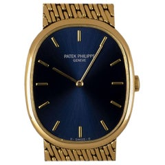 Patek Philippe Golden Ellipse Gents 18 Karat Yellow Gold Blue Dial 3848/8