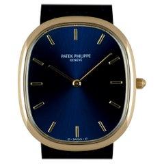 Patek Philippe Golden Ellipse Gents 18k Yellow Gold Sunburst Blue Dial 3738/100