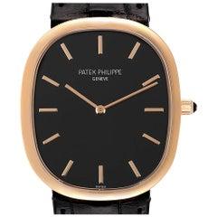 Patek Philippe Golden Ellipse Grande Taille Rose Gold Black Dial Watch 5738