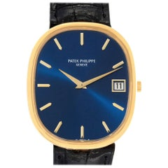Patek Philippe Golden Ellipse Jumbo Yellow Gold Blue Dial Men's Watch 3605