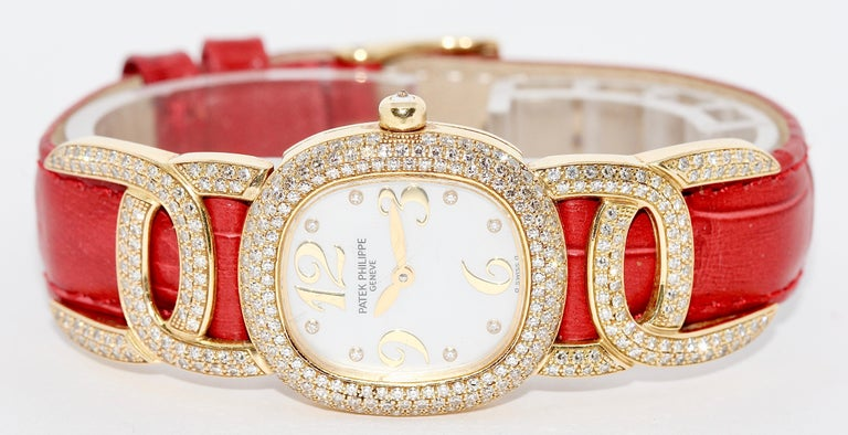 Modern Patek Philippe Golden Ellipse Ladies Wristwatch, with MOP and Diamonds 18K Gold For Sale
