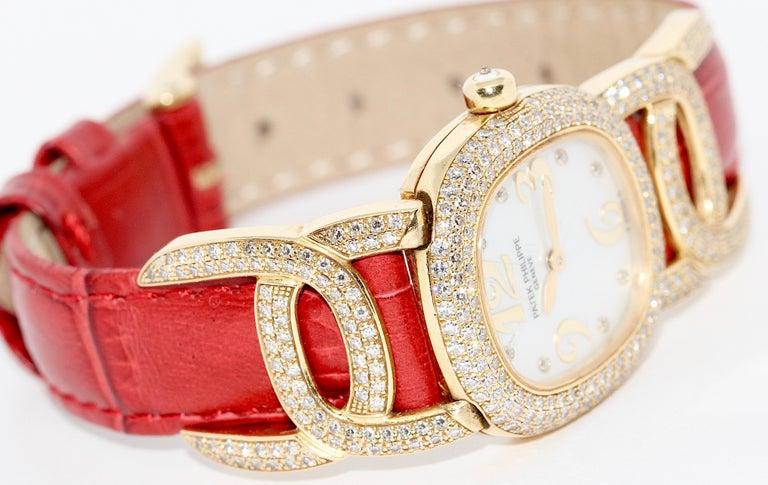 Women's Patek Philippe Golden Ellipse Ladies Wristwatch, with MOP and Diamonds 18K Gold For Sale