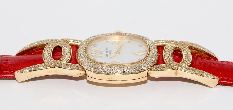 Patek Philippe Golden Ellipse Ladies Wristwatch, with MOP and Diamonds 18K Gold For Sale 3