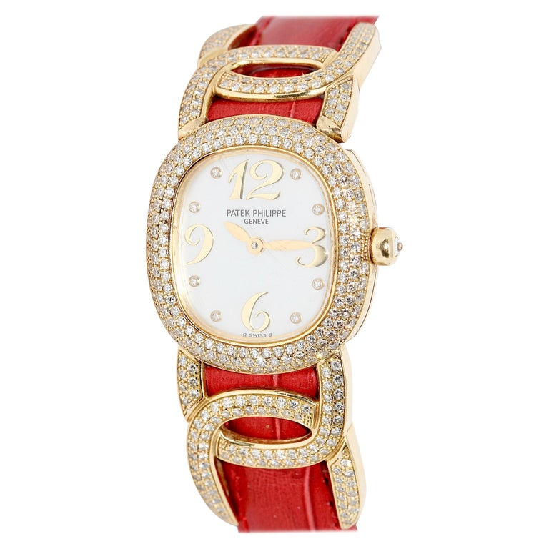 Patek Philippe Golden Ellipse Ladies Wristwatch, with MOP and Diamonds 18K Gold For Sale