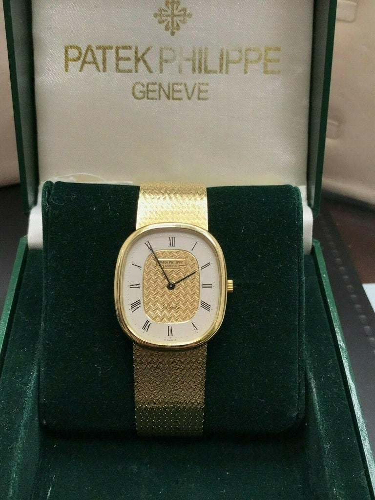 Patek Philippe Golden Ellipse Ref 3838 18 Karat Solid Gold with Box In Excellent Condition For Sale In San Diego, CA
