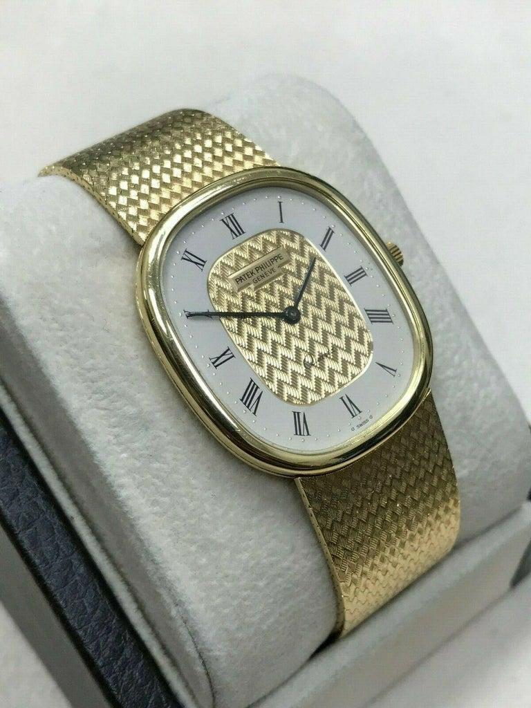 Men's Patek Philippe Golden Ellipse Ref 3838 18 Karat Solid Gold with Box For Sale