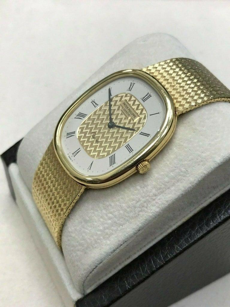 Patek Philippe Golden Ellipse Ref 3838 18 Karat Solid Gold with Box For Sale 1