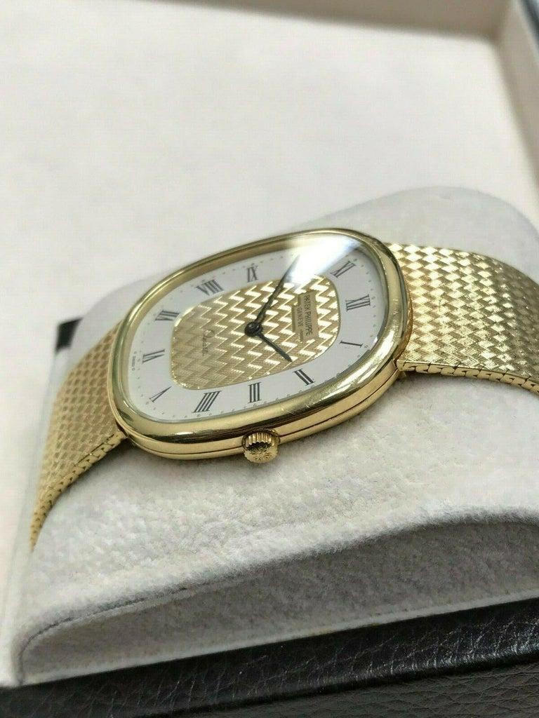 Patek Philippe Golden Ellipse Ref 3838 18 Karat Solid Gold with Box For Sale 2