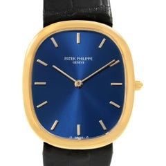 Patek Philippe Golden Ellipse Yellow Gold Blue Dial Watch 3738 Box