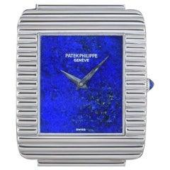 Patek Philippe Gondolo Vintage 18 Karat Gold Lapis Lazuli Dial Rare Ribbed Case