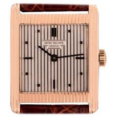 Patek Philippe Gondolo Vintage Gents 18 Karat Gold Silver Guilloche Dial 3467