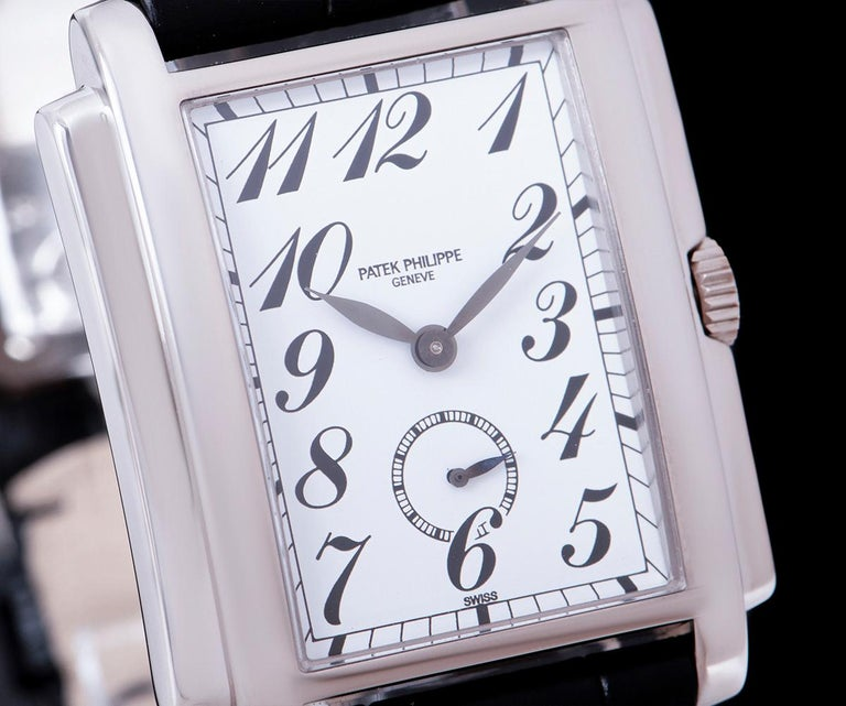 Patek Philippe Gondolo White Porcelain Dial B&P 5024G-010 In Excellent Condition For Sale In London, GB
