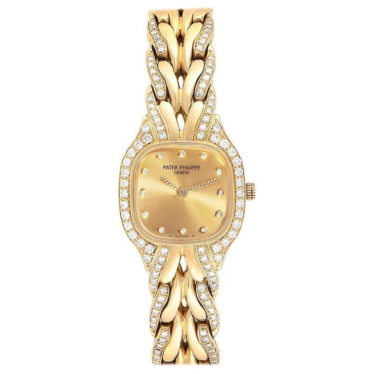 Patek Philippe La Flamme 18 Karat Yellow Gold Diamond Ladies Watch 4715 For Sale