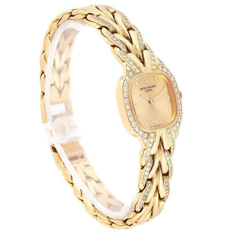 Patek Philippe La Flamme 18 Karat Yellow Gold Diamond Ladies Watch 4715 In Excellent Condition For Sale In Atlanta, GA