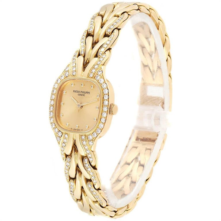 Women's Patek Philippe La Flamme 18 Karat Yellow Gold Diamond Ladies Watch 4715 For Sale