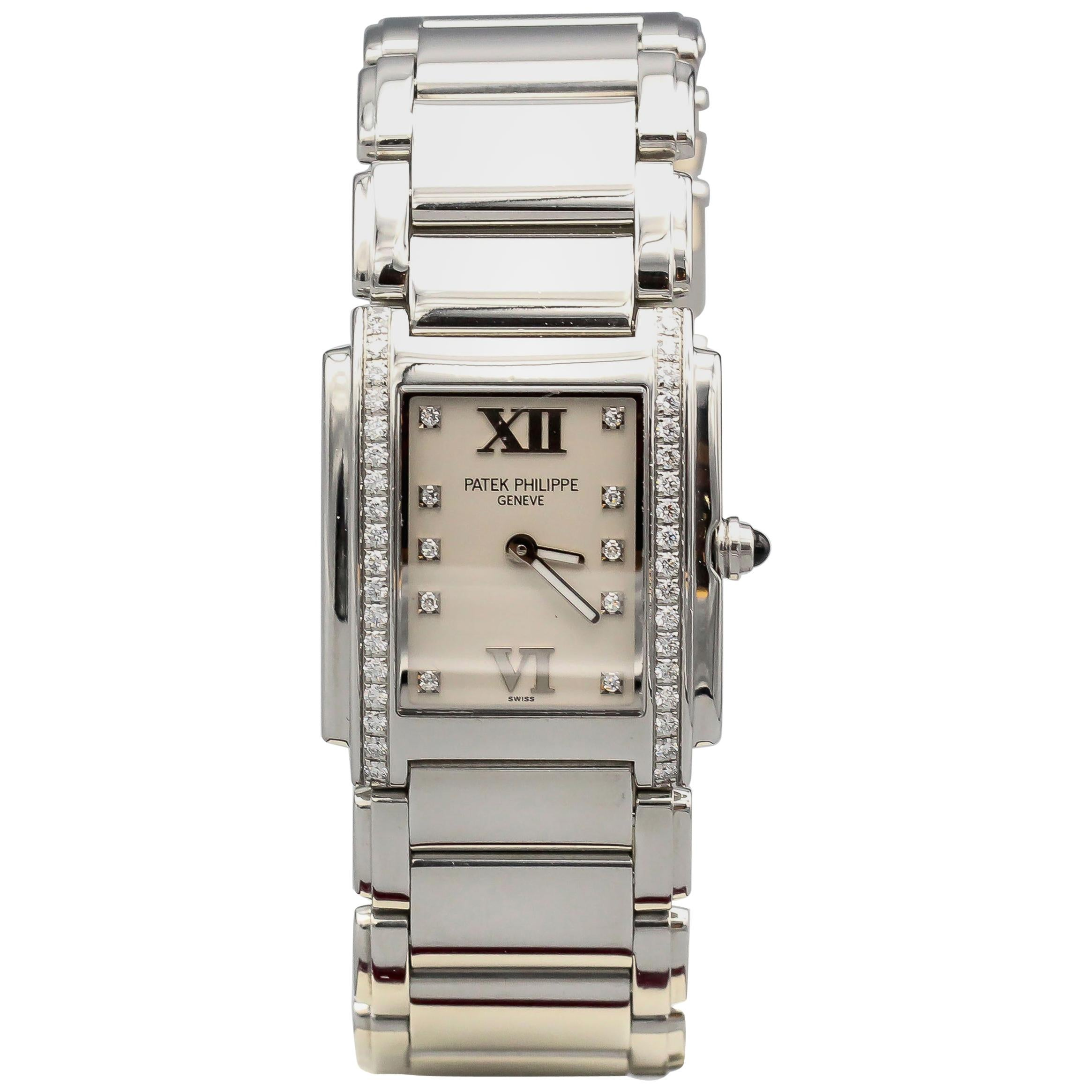 Patek Philippe Ladies Twenty-4 Watch Stainless Steel White Dial Ref. 4910