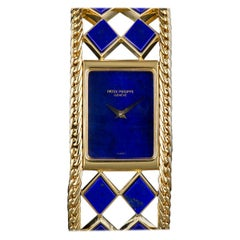 Patek Philippe Ladies Yellow Gold Lapis Lazuli Manual Wristwatch Ref 4241