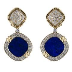 Patek Philippe Lapis Lazuli and Diamond Set Earrings