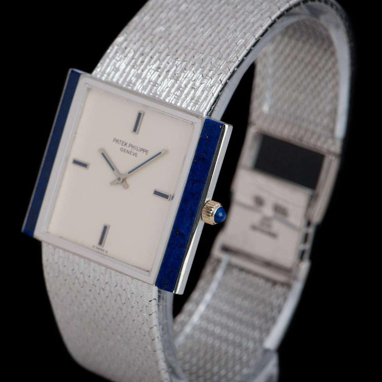 Patek Philippe Lapis Lazuli Set Gondolo Silver Dial B&P 3578G-001 In Excellent Condition For Sale In London, GB