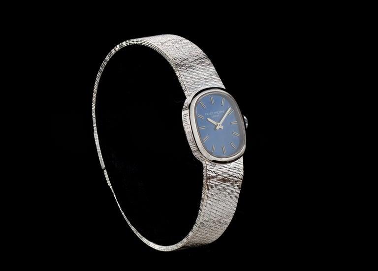Women's Patek Philippe Mini-Ellipse 18 Karat White Gold Manual Winding Ladies Watch For Sale