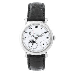 Patek Philippe White Gold Moonphase Calendar Automatic Wristwatch Ref 5054G-001