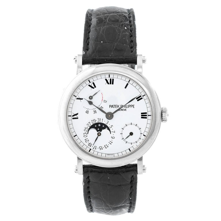Patek Philippe White Gold Moonphase Calendar Automatic Wristwatch Ref 5054G-001