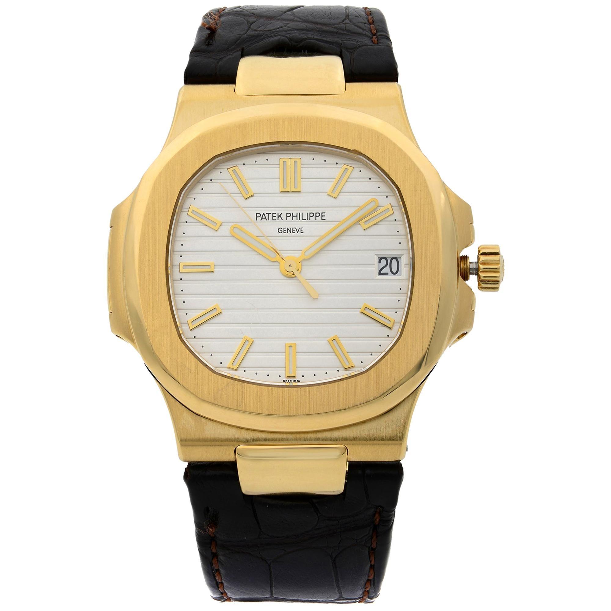 Patek Philippe Nautilus 18 Karat Gold Brown Leather Band Men's Watch 5711J-001