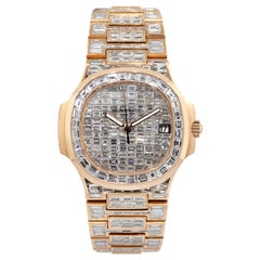 Patek Philippe Nautilus 18 Karat Rose Gold 70 Carat Baguette Diamond Wristwatch