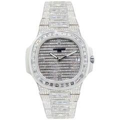 Patek Philippe Nautilus 18 Karat White Gold Diamond Bust Down Wristwatch