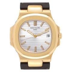 Patek Philippe Nautilus 18 Karat Yellow Gold Brown Strap Men's Watch 5711