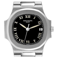 Patek Philippe Nautilus Black Dial Automatic Steel Mens Watch 3800 Papers