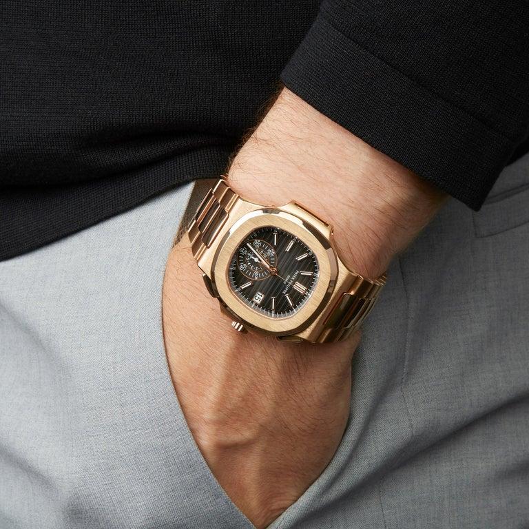Patek Philippe Nautilus Chronograph 18k Rose Gold 5980/1R-001 For Sale 4