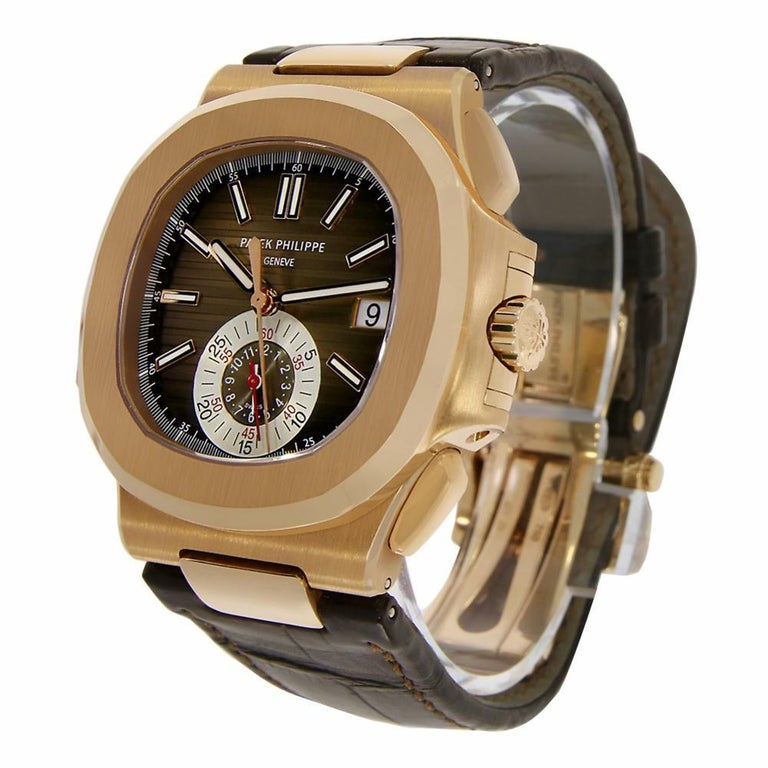 Contemporary Patek Philippe Nautilus Chronograph Rose Gold Watch Leather Strap 5980R-001 For Sale