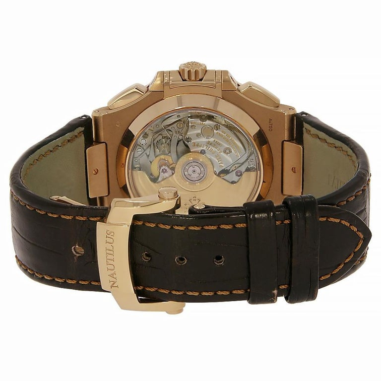 Patek Philippe Nautilus Chronograph Rose Gold Watch Leather Strap 5980R-001 In Excellent Condition For Sale In Miami, FL