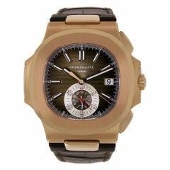 Patek Philippe Nautilus Chronograph Rose Gold Watch Leather Strap 5980R-001