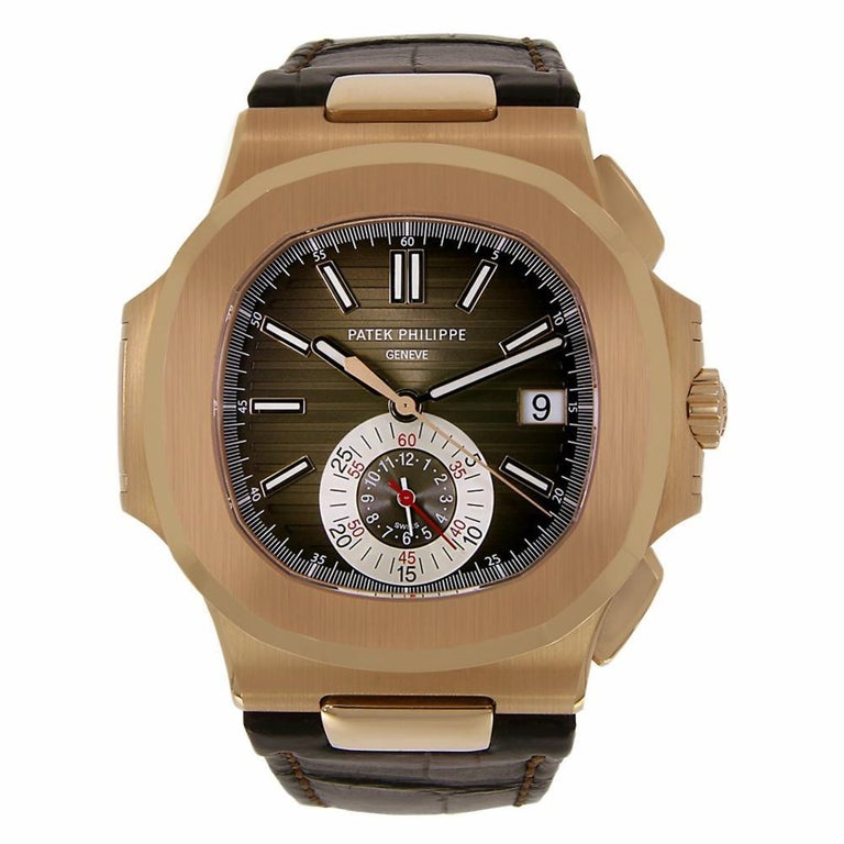 Patek Philippe Nautilus Chronograph Rose Gold Watch Leather Strap 5980R-001 For Sale