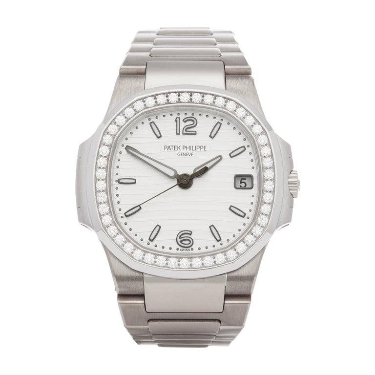 Patek Philippe Nautilus Diamond 18 Karat White Gold 7010G For Sale