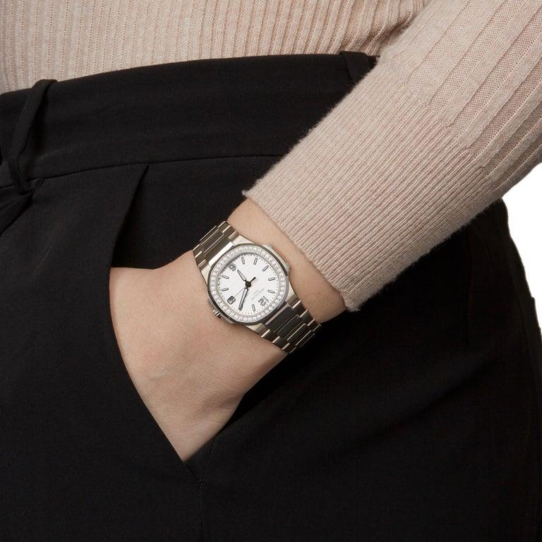Patek Philippe Nautilus Diamond 18 Karat White Gold 7010G For Sale 4