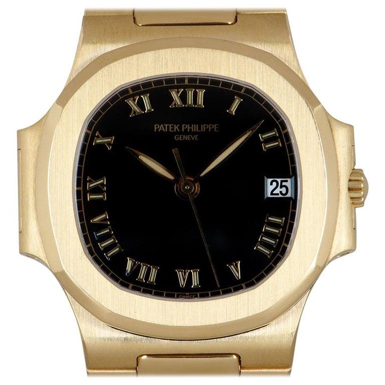 Patek Philippe Nautilus Gents 18 Karat Gold Semi-Glossy Black Dial 3800/1J For Sale