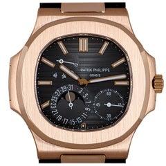 Patek Philippe Nautilus Gents 18 Karat Rose Gold Black Brown Dial B&P 5712R-001