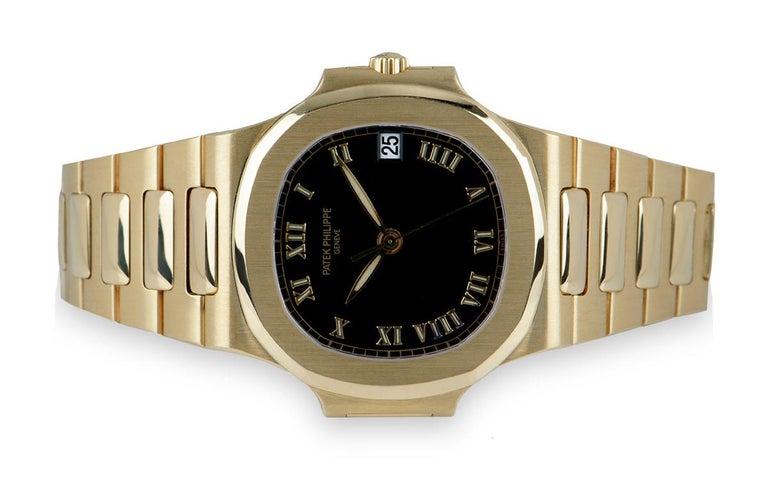Men's Patek Philippe Nautilus Gents 18 Karat Gold Semi-Glossy Black Dial 3800/1J For Sale