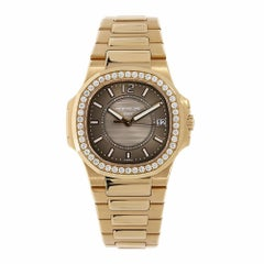 Patek Philippe Nautilus Ladies Rose Gold Diamond Bezel Watch 7010/1R-010