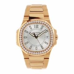 Patek Philippe Nautilus Ladies Rose Gold Watch Diamond Bezel 7010/1R-001