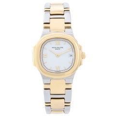 Patek Philippe Ladies Yellow Gold Stainless Steel Nautilus Quartz Wristwatch
