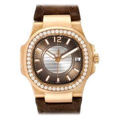 Patek Philippe Nautilus Rose Gold Diamond Brown Strap Ladies Watch 7010