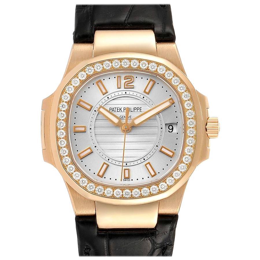 Patek Philippe Nautilus Rose Gold Diamond Silver Dial Ladies Watch 7010